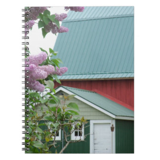 Notebook Farm Journal Antique Red Barn Green Roof