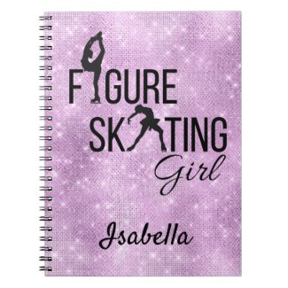 Notebook Figure skating girl purple sparkle