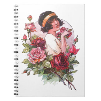 Notebook Flapper & Roses Diary Journal Fashion