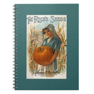 Notebook Garden Journal Antique Rice's Seeds Teal