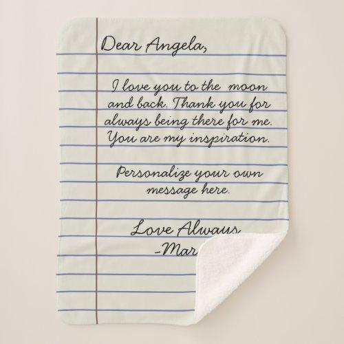 Notebook handwritten love letter or message custom sherpa blanket