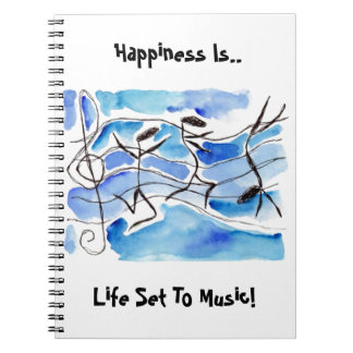 Notebook Journal Diary Anthropomorphic Music Notes