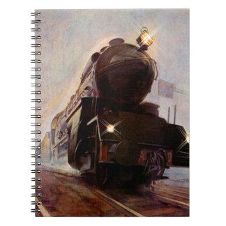 Notebook Journal Misty Evening Train RR Sta Diary