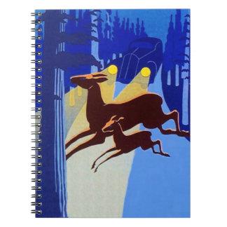 Notebook Journal Vintage Deer in Headlights Diary