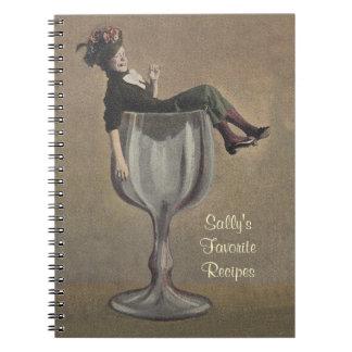 Notebook Lady Wine List Recipe Book Antique Fun