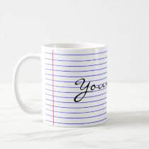 Notebook Lines (Put Your Name) Coffee Mug