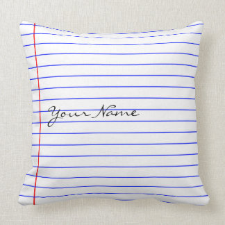 Notebook Lines (Put Your Name) Throw Pillow
