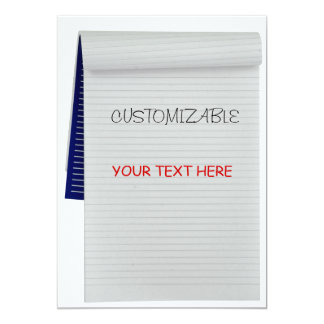 Notebook Notes Customizable Greeting 5x7 Paper Invitation Card