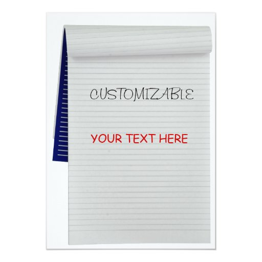 "Notebook Notes Customizable Greeting 5"" X 7"" Invitation Card"