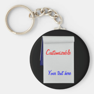 Notebook Notes Customizable Basic Round Button Keychain