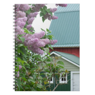 Notebook Old Farm Lilacs Red Barn Green Roof