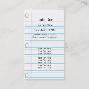 Notebook business cards templates zazzle notebook paper business card colourmoves