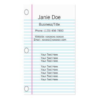 Notebook Paper Business Card
