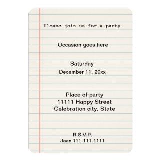Notebook Paper Card
