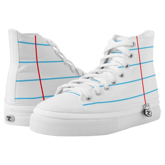 553d97e50d87 Notebook Paper Graphic Custom High Top Shoes