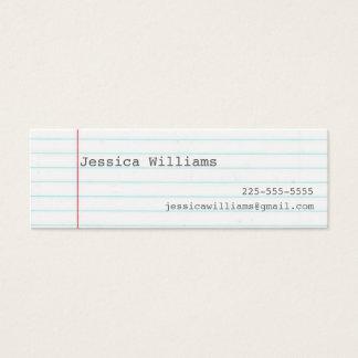 Notebook Paper Mini Business Card