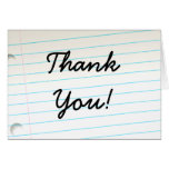 Notebook Paper Thank You Card