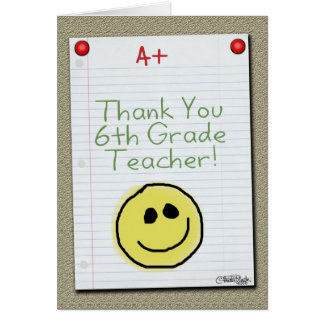 Notebook Paper Thank You for Middle School Teacher Card