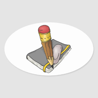 Notebook Pencil and Eraser Oval Sticker