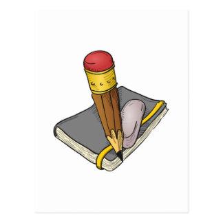 Notebook Pencil and Eraser Postcard