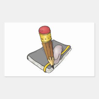 Notebook Pencil and Eraser Rectangular Sticker