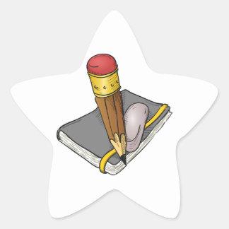 Notebook Pencil and Eraser Star Sticker