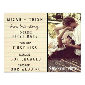 Notebook Photo Our Love Story Save the Dates 4.25x5.5 Paper Invitation Card