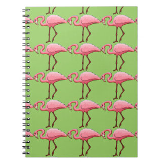 Notebook Pink Flamingo Repeat Pattern on Sea Green