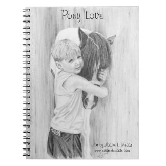 Notebook, Pony Love, Graphite Drawing Spiral Notebook