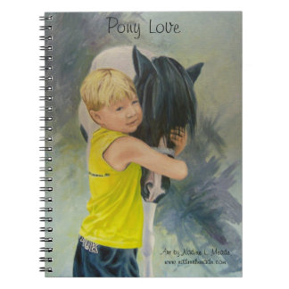 Notebook, Pony Love, Oil painting of boy hugging p Notebook