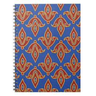 Notebook, Red, Blue, Gold Fleur de Lys Pattern Notebook