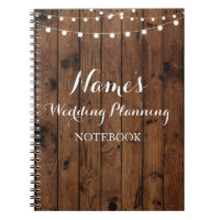 Notebook Rustic Wood Wedding Planning Ideas Notes
