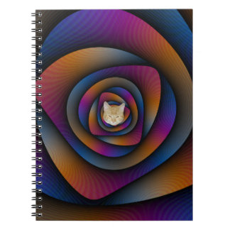 Notebook  Spiral Labyrinth in Blue Orange and Pink