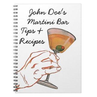 Notebook Vintage Martini Bar Entertaining Recipes