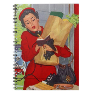 Notebook Vintage Retro Busy Lady in Red Suburbia