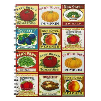 Notebook Vintage Retro Canned Fruit Veggie Labels