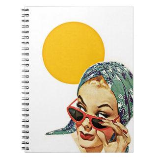 Notebook Vintage Retro Chic Suburban Lady Sunshine