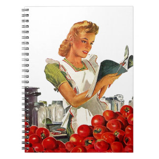 Notebook Vintage Retro Lady Home Canning Recipes
