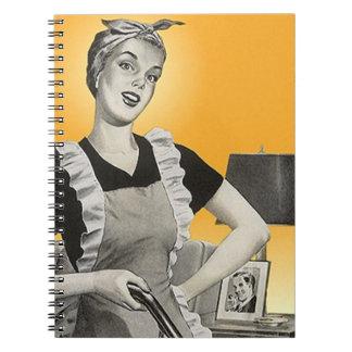 Notebook Vintage Retro Lady Housekeeping Suburban