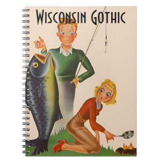 Notebook Vintage Wisconsin Gothic Fishing Campfire