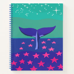 Notebook with beautiful picture of whale