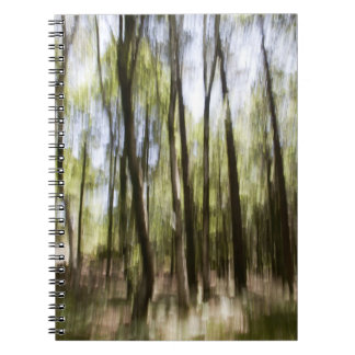 Notebook with blurred forest