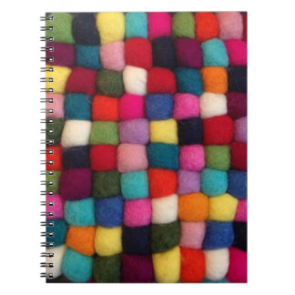 Notebook with boiled, felted wool - colorful