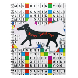 Notebook with Dachshund Crossword Christmas theme