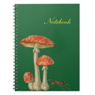 Notebook with fairy tales mushrooms and ant