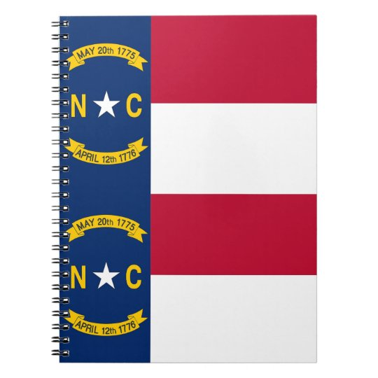 Notebook with Flag of North Carolina State