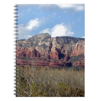 notebook with photo of Arizona red rocks