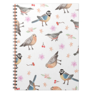 Notebook with sparrows