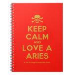 [Skull crossed bones] keep calm and love a aries  Notebooks