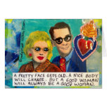 NOTECARD-A PRETTY FACE GETS OLD, A NICE BODY CARD